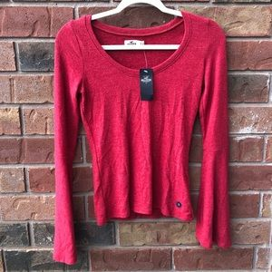 Hollister Red Bell Sleeve Top